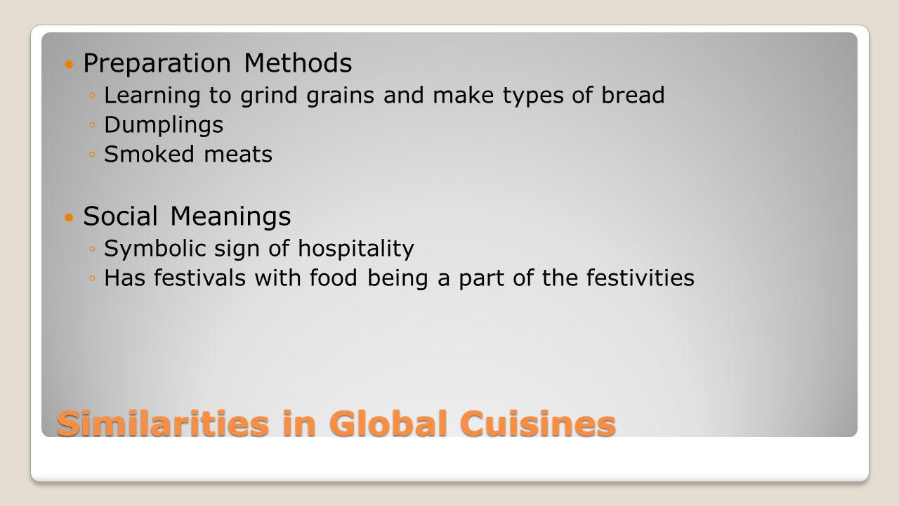 Similarities in Global Cuisines