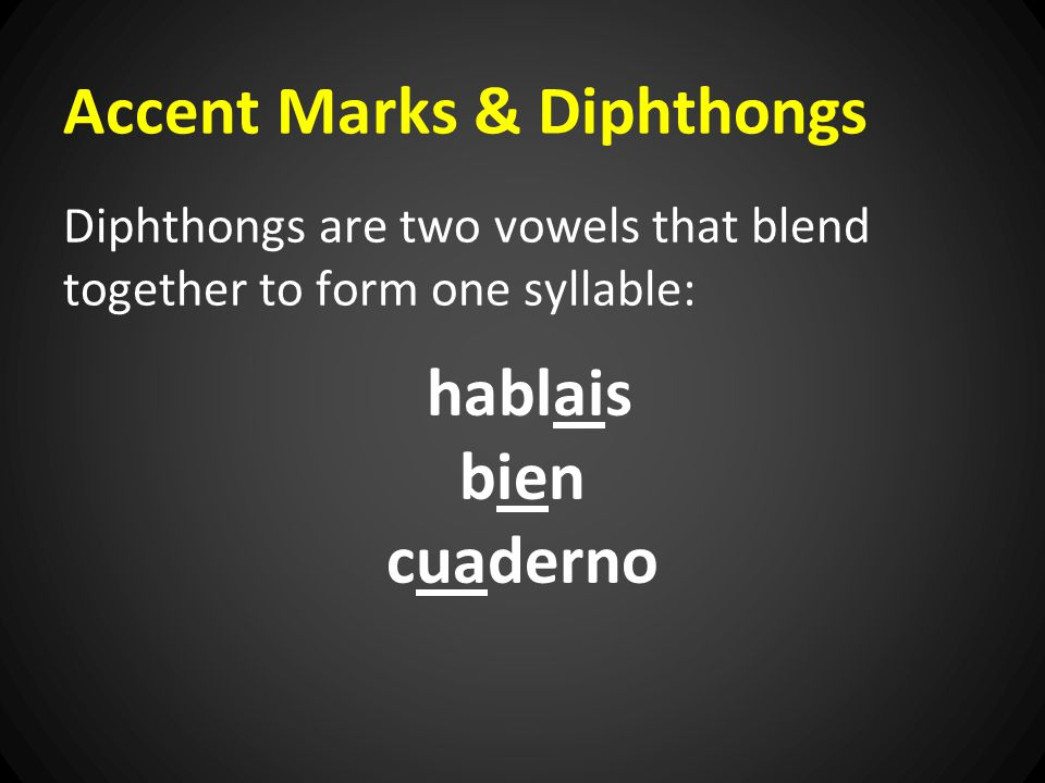 Accent Marks & Diphthongs