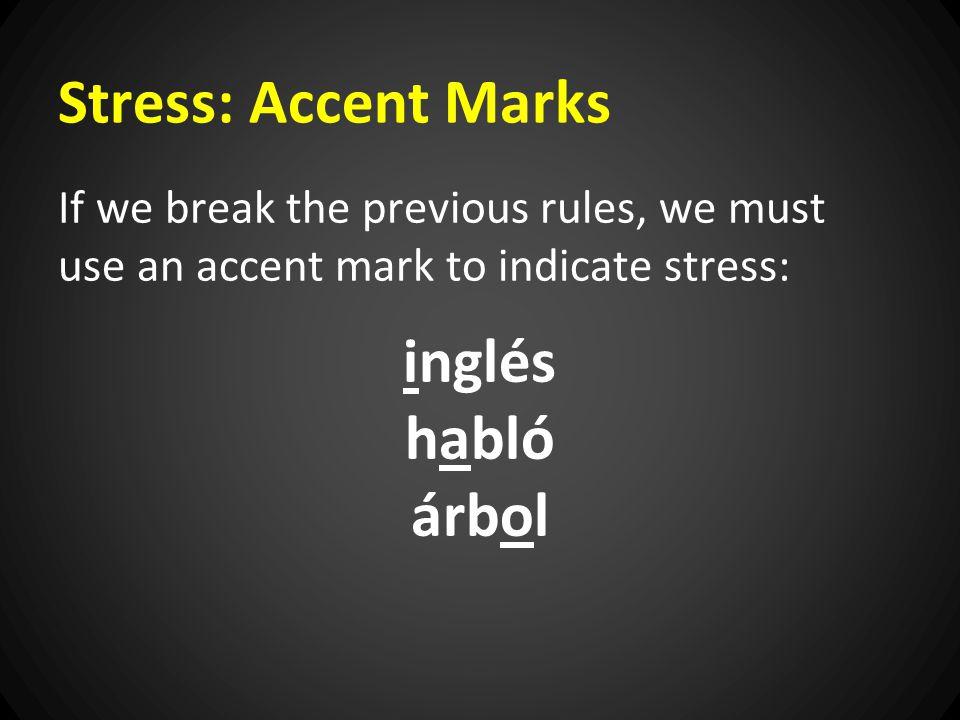 Stress: Accent Marks inglés habló árbol