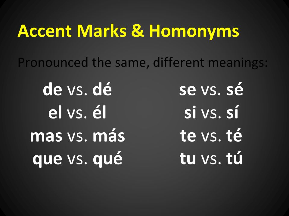 Accent Marks & Homonyms