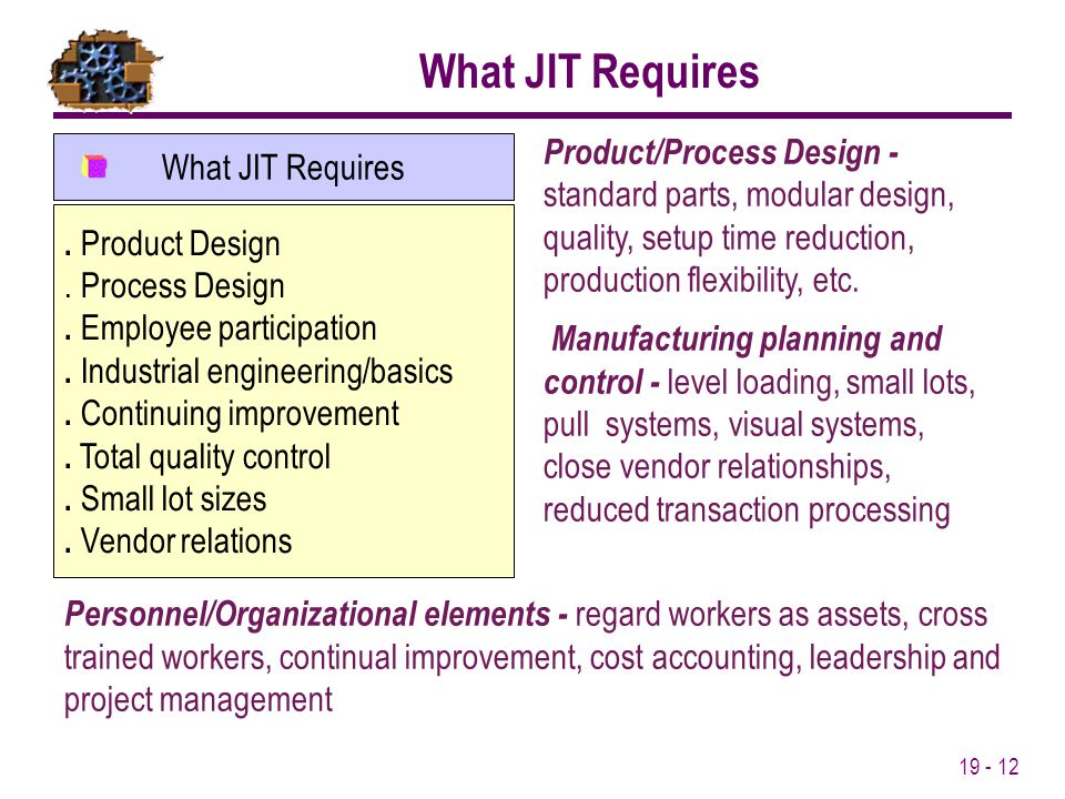What JIT Requires Product/Process Design - standard parts, modular design, quality, setup time reduction, production flexibility, etc.