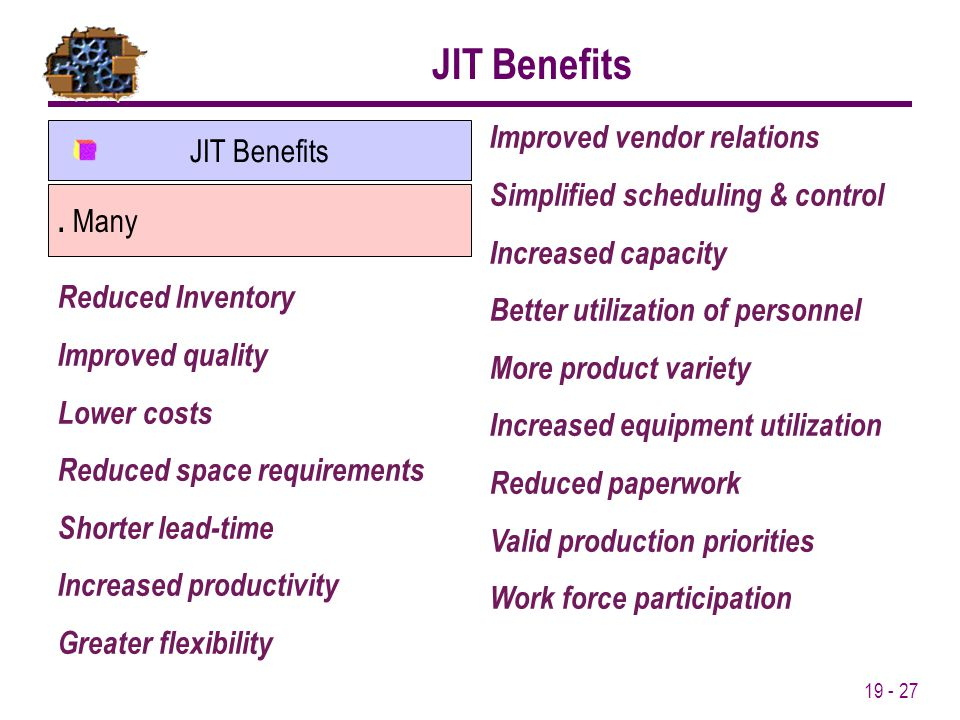 JIT Benefits Improved vendor relations JIT Benefits