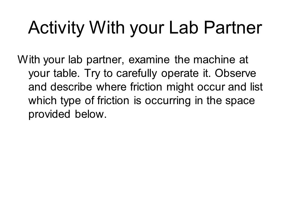 Activity With your Lab Partner
