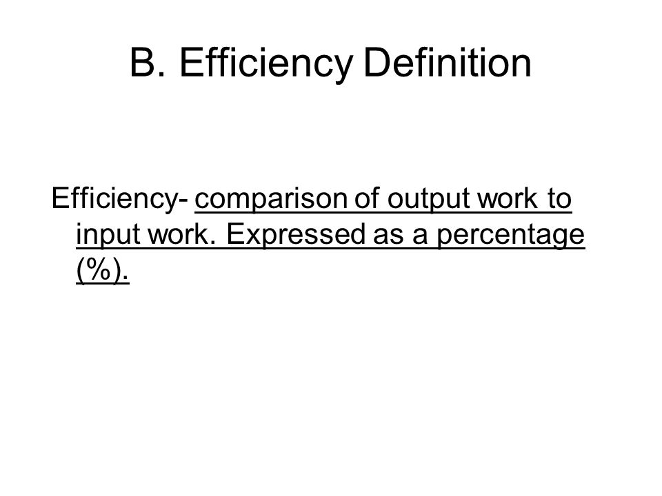 B. Efficiency Definition