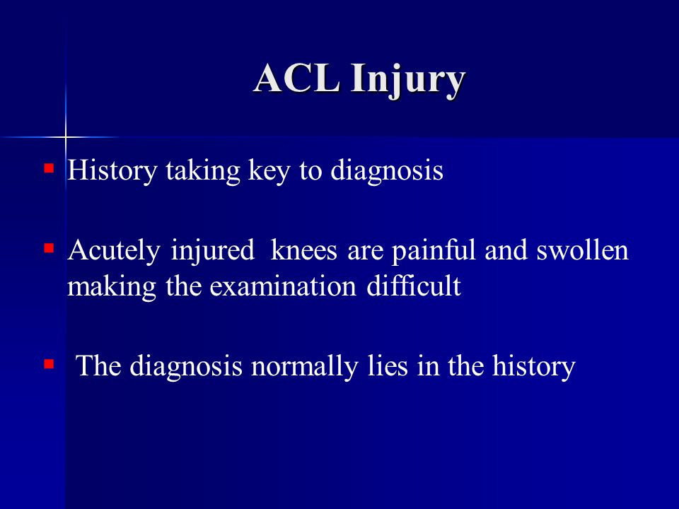 ACL Injury History taking key to diagnosis