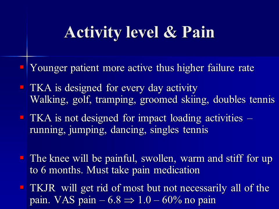 Activity level & Pain Younger patient more active thus higher failure rate.