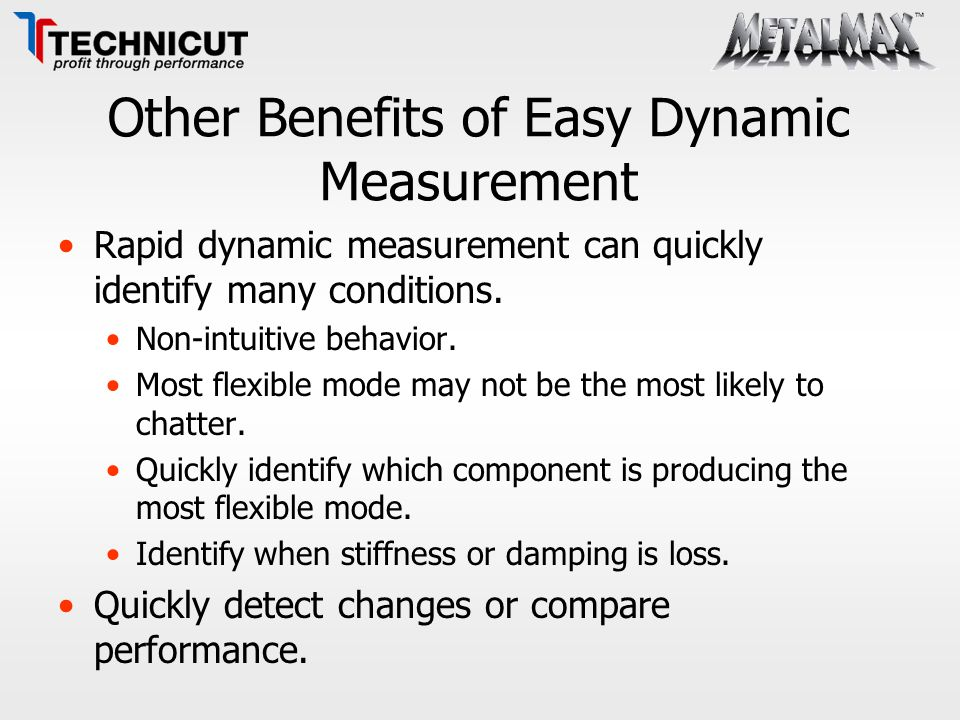 Other Benefits of Easy Dynamic Measurement