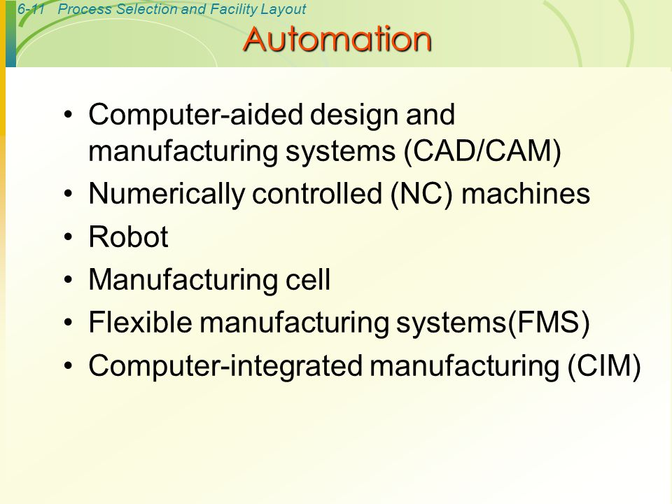Automation Computer-aided design and manufacturing systems (CAD/CAM)