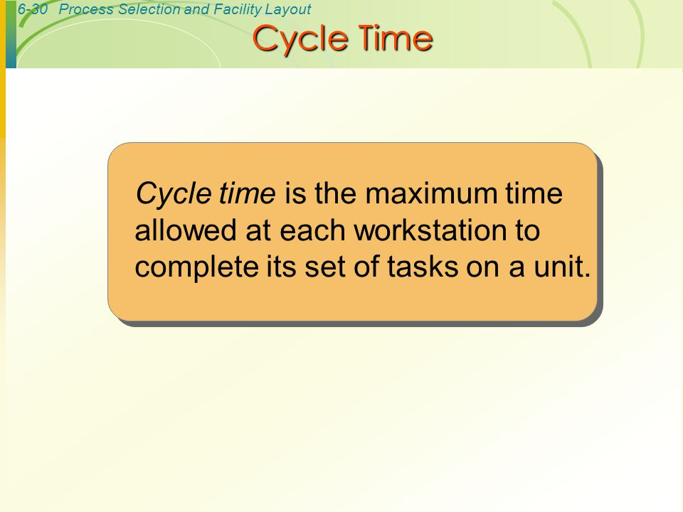 Cycle Time Cycle time is the maximum time