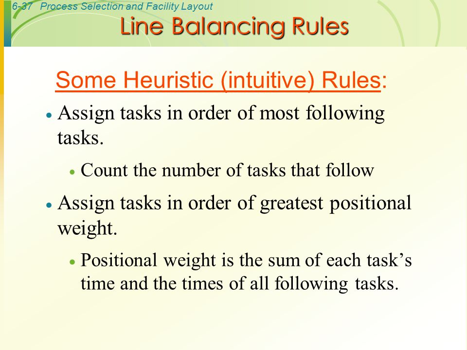 Some Heuristic (intuitive) Rules: