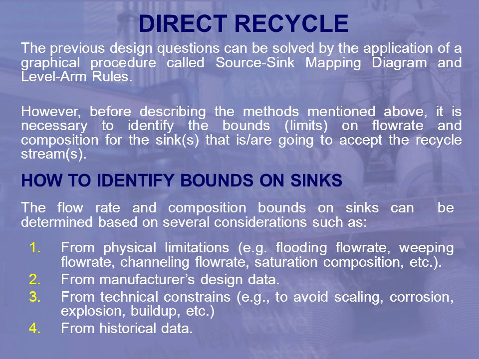 DIRECT RECYCLE HOW TO IDENTIFY BOUNDS ON SINKS