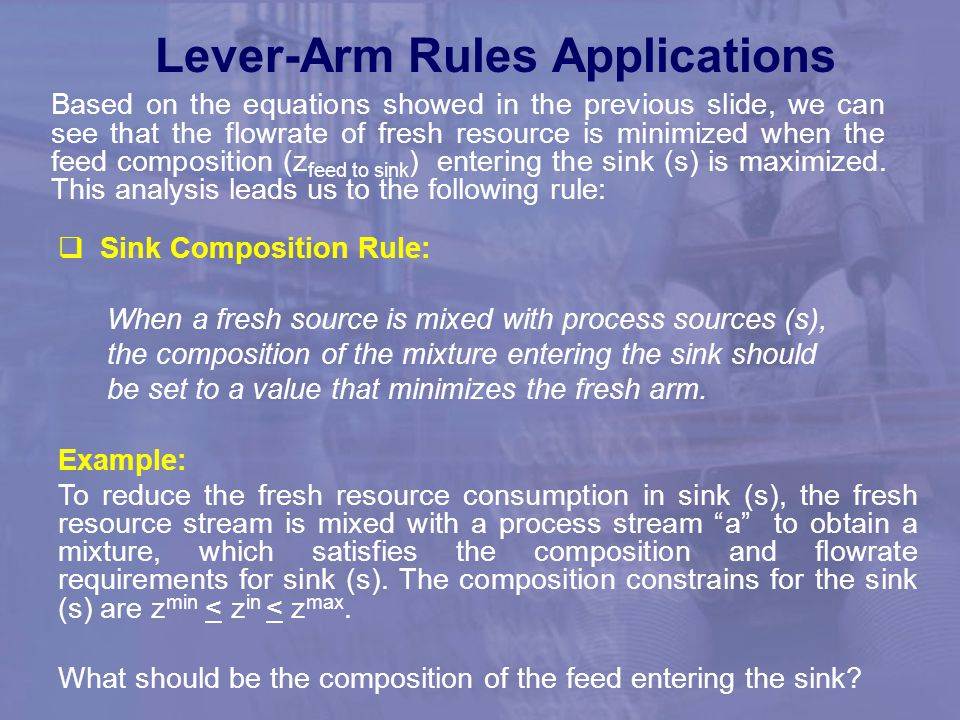 Lever-Arm Rules Applications