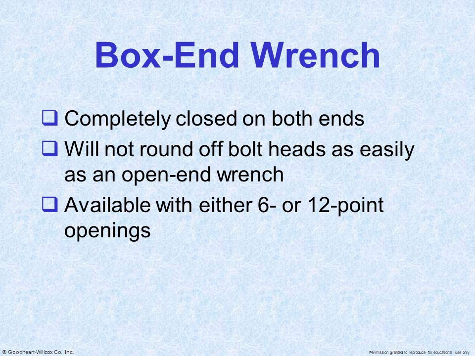 Box-End Wrench Completely closed on both ends