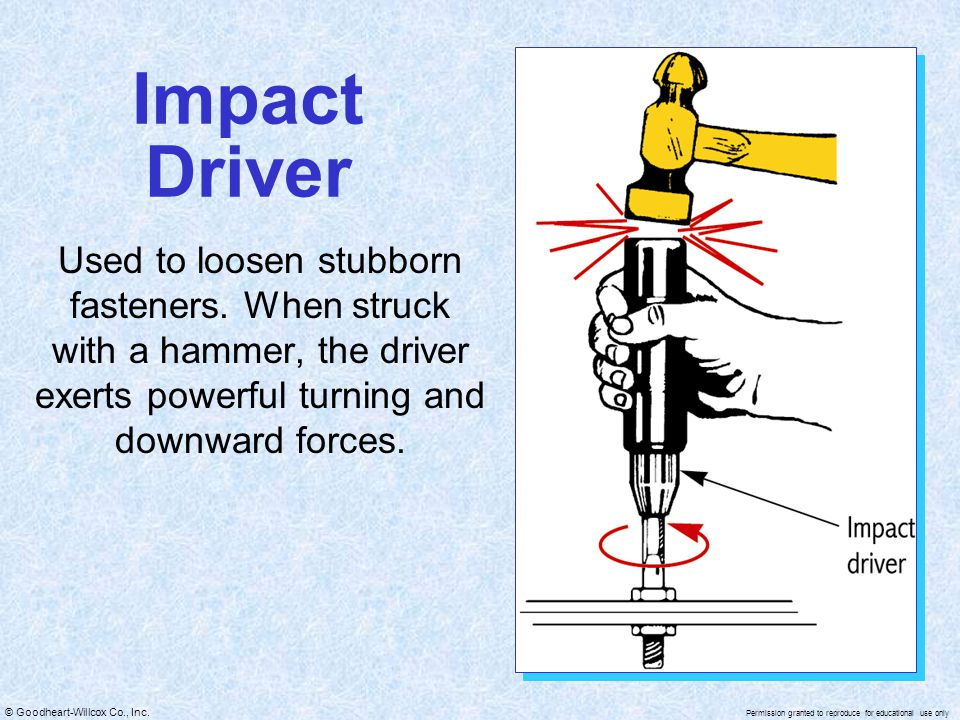 Impact Driver Used to loosen stubborn fasteners.