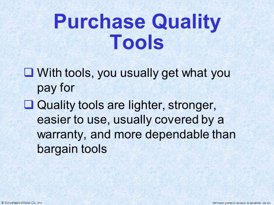 Purchase Quality Tools