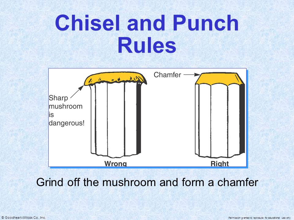 Grind off the mushroom and form a chamfer
