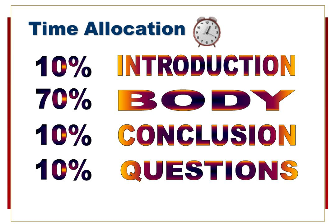 Time Allocation 10% INTRODUCTION 70% BODY 10% CONCLUSION 10% QUESTIONS