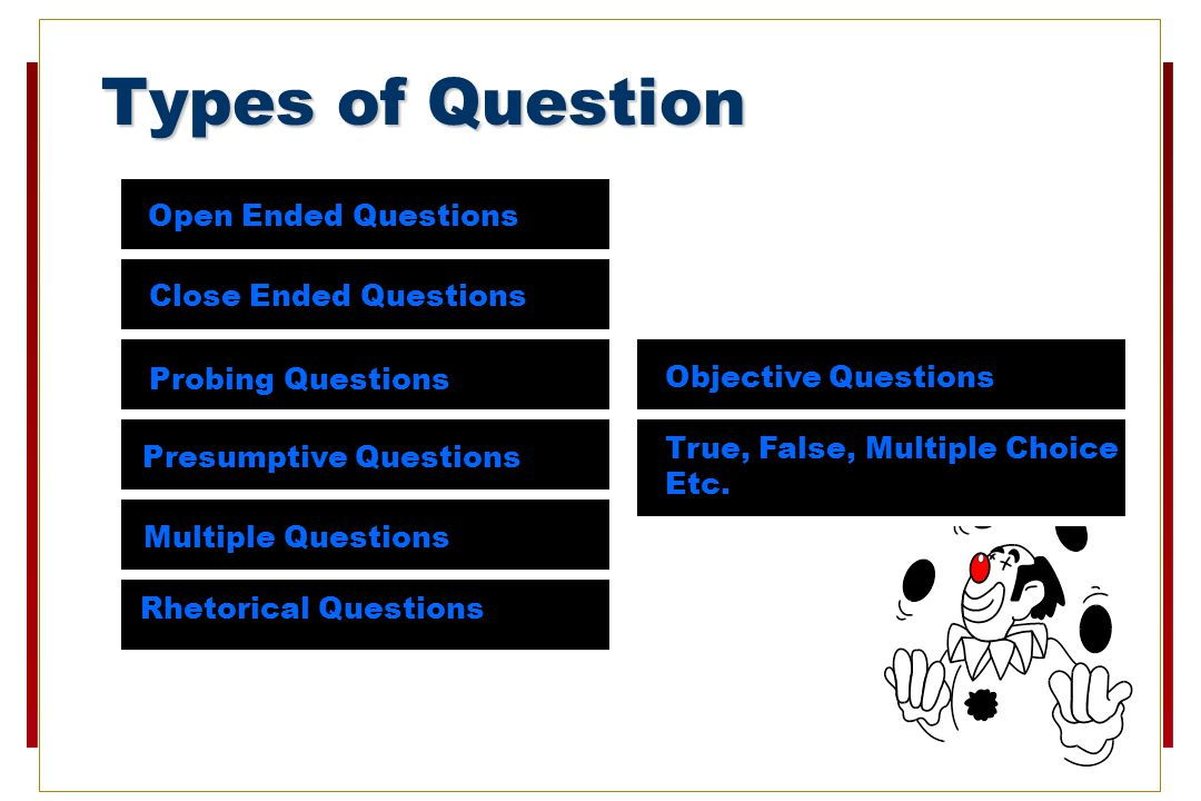 Types of Question Open Ended Questions Close Ended Questions