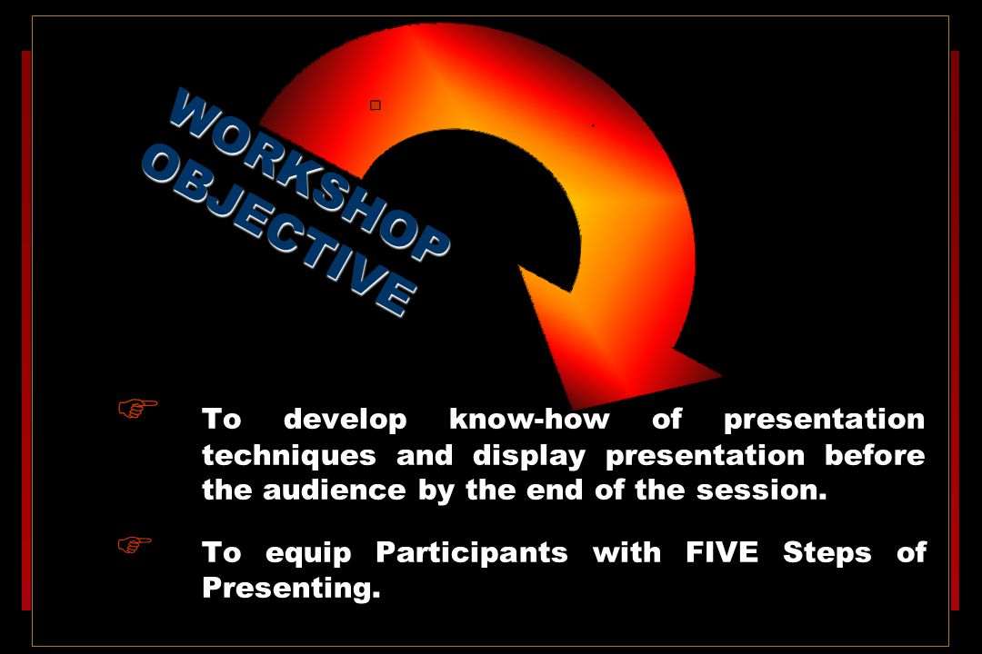 . WORKSHOP OBJECTIVE. To develop know-how of presentation techniques and display presentation before the audience by the end of the session.