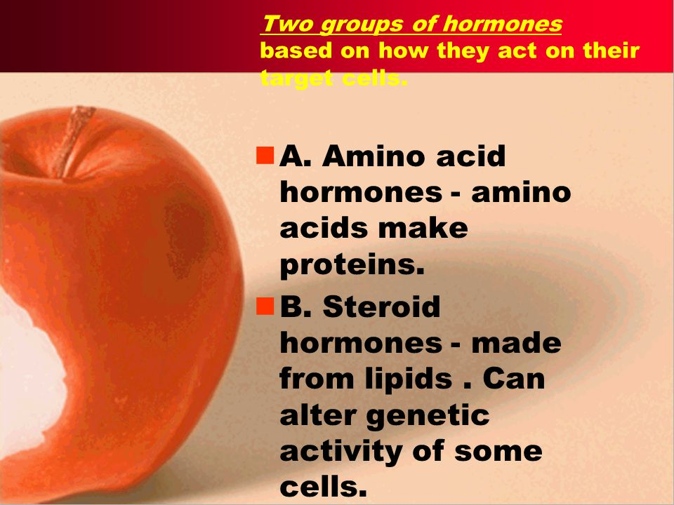 Two groups of hormones based on how they act on their target cells.