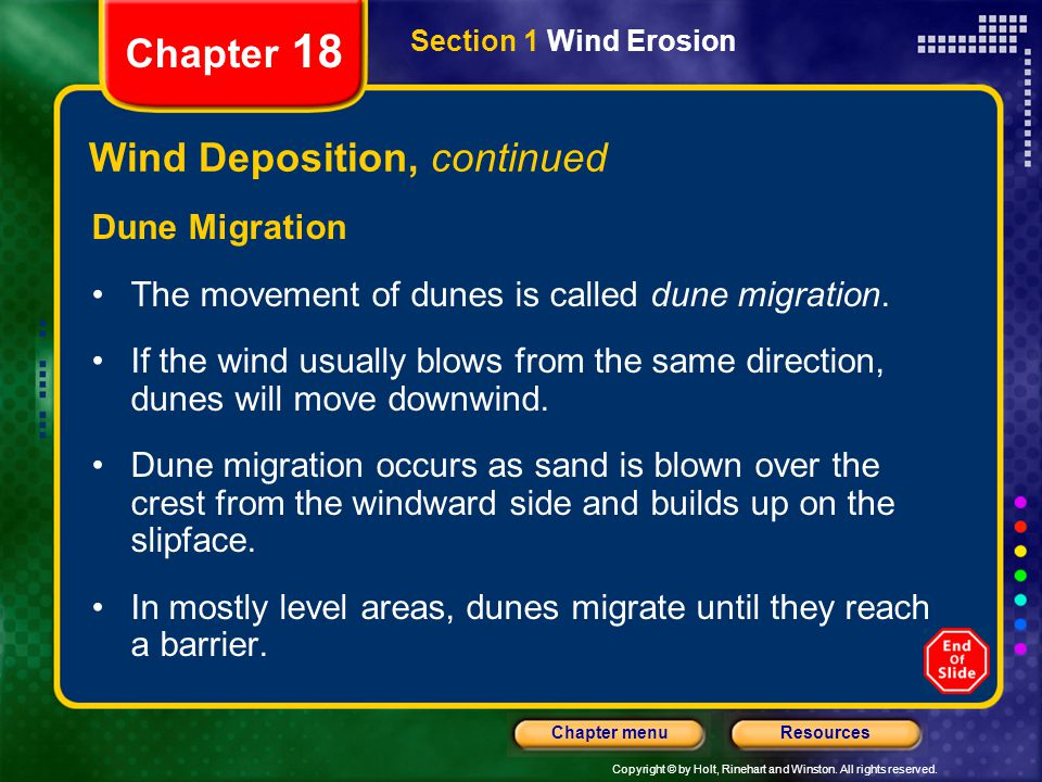 Wind Deposition, continued