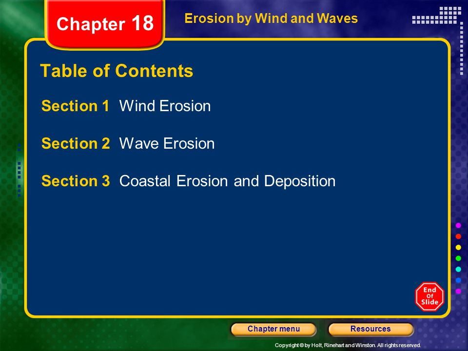 Chapter 18 Table of Contents Section 1 Wind Erosion