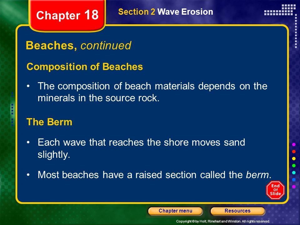 Chapter 18 Beaches, continued Composition of Beaches