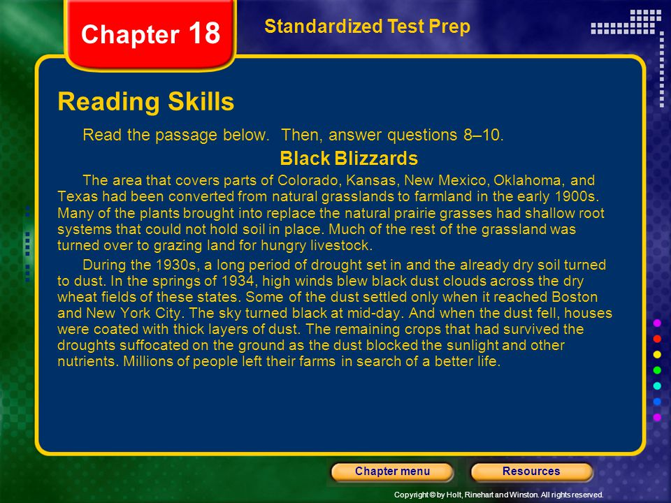 Chapter 18 Reading Skills Standardized Test Prep Black Blizzards