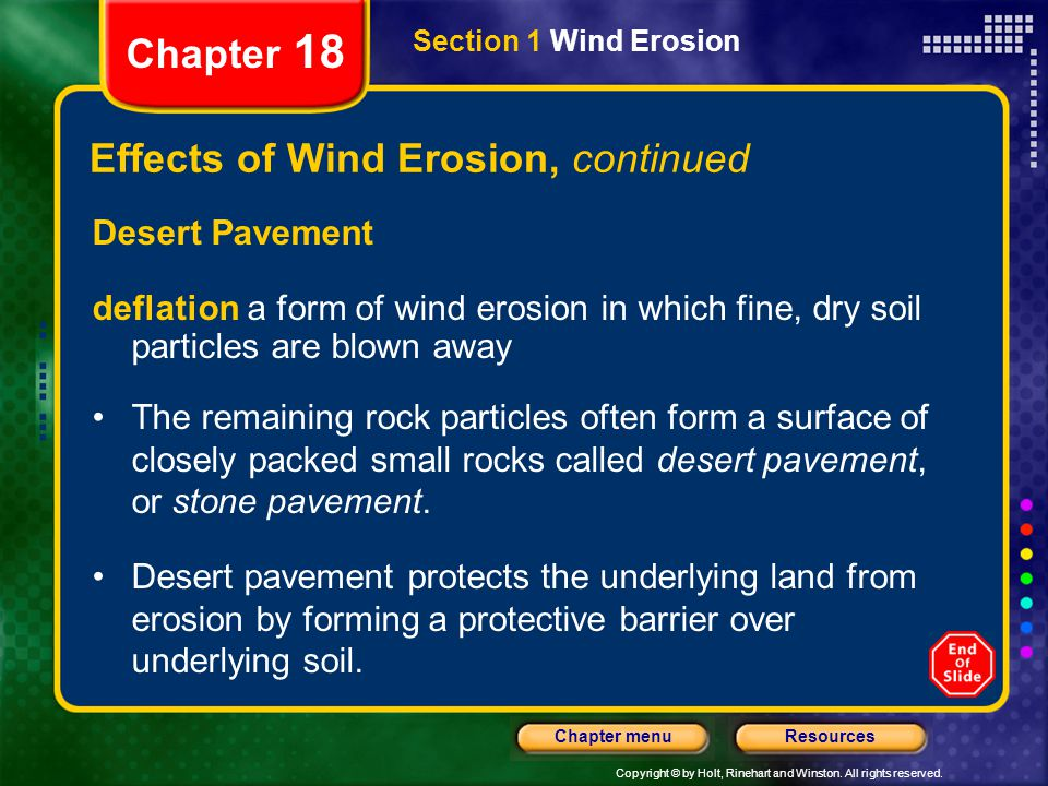 Effects of Wind Erosion, continued