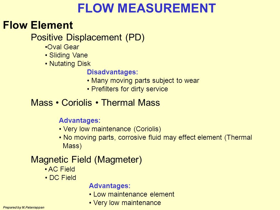 FLOW MEASUREMENT Flow Element Mass • Coriolis • Thermal Mass
