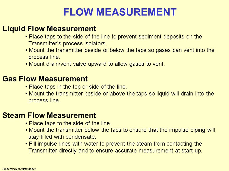 FLOW MEASUREMENT Liquid Flow Measurement Gas Flow Measurement