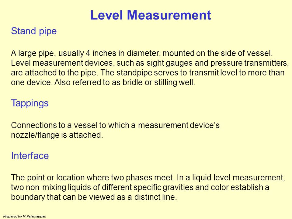Level Measurement Stand pipe Tappings Interface