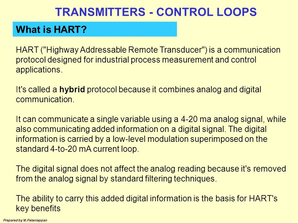 TRANSMITTERS - CONTROL LOOPS