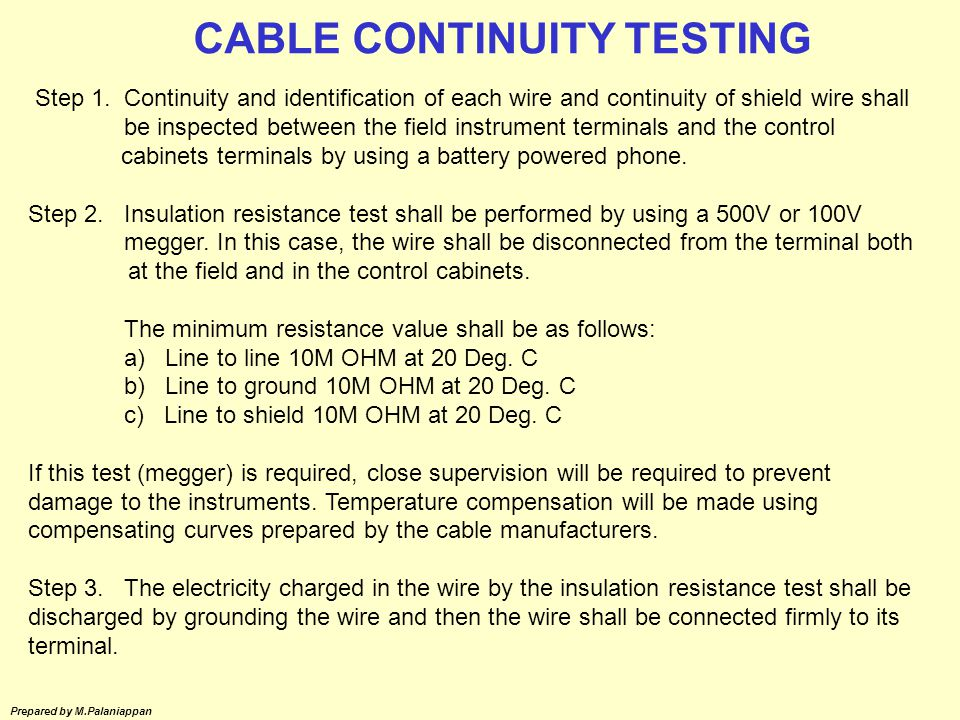 CABLE CONTINUITY TESTING