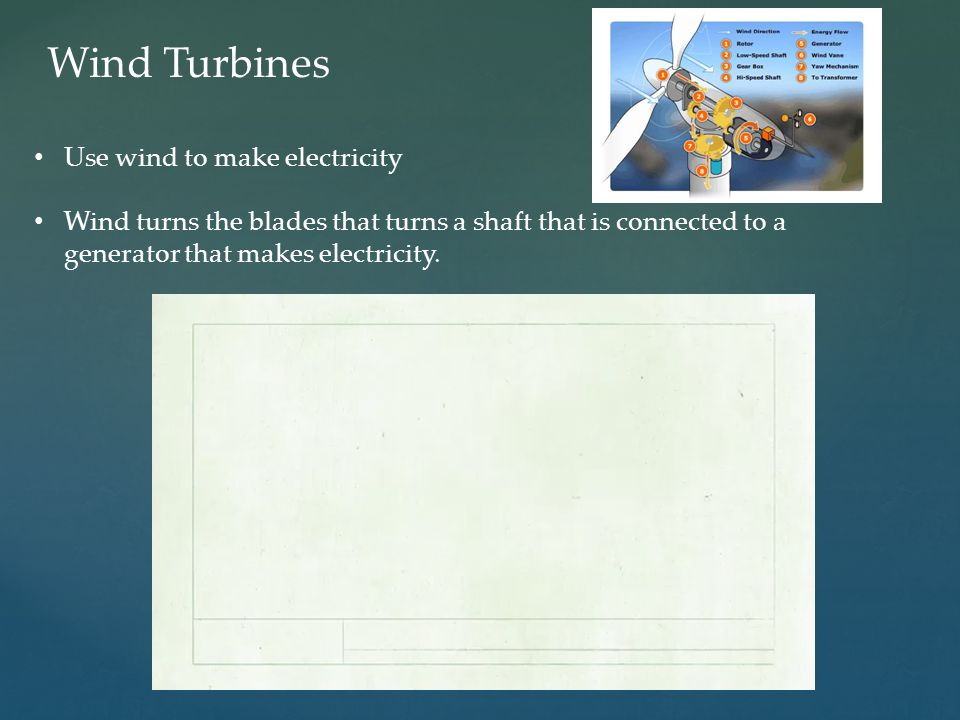 Wind Turbines Use wind to make electricity