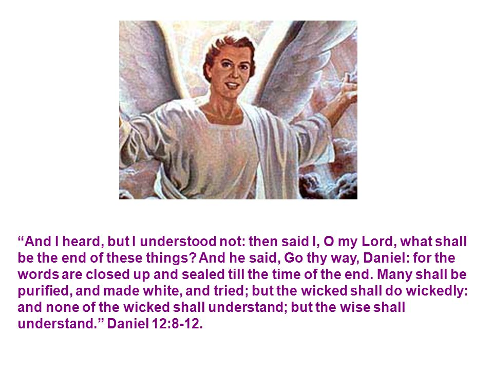 And I heard, but I understood not: then said I, O my Lord, what shall be the end of these things.