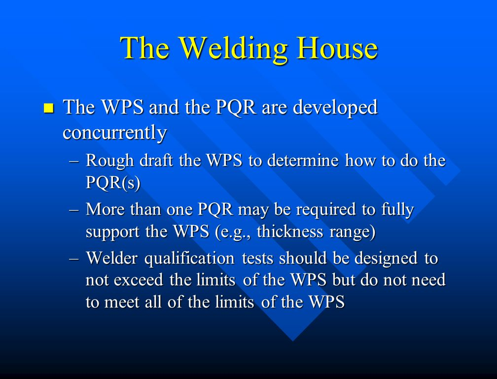 The Welding House The WPS and the PQR are developed concurrently