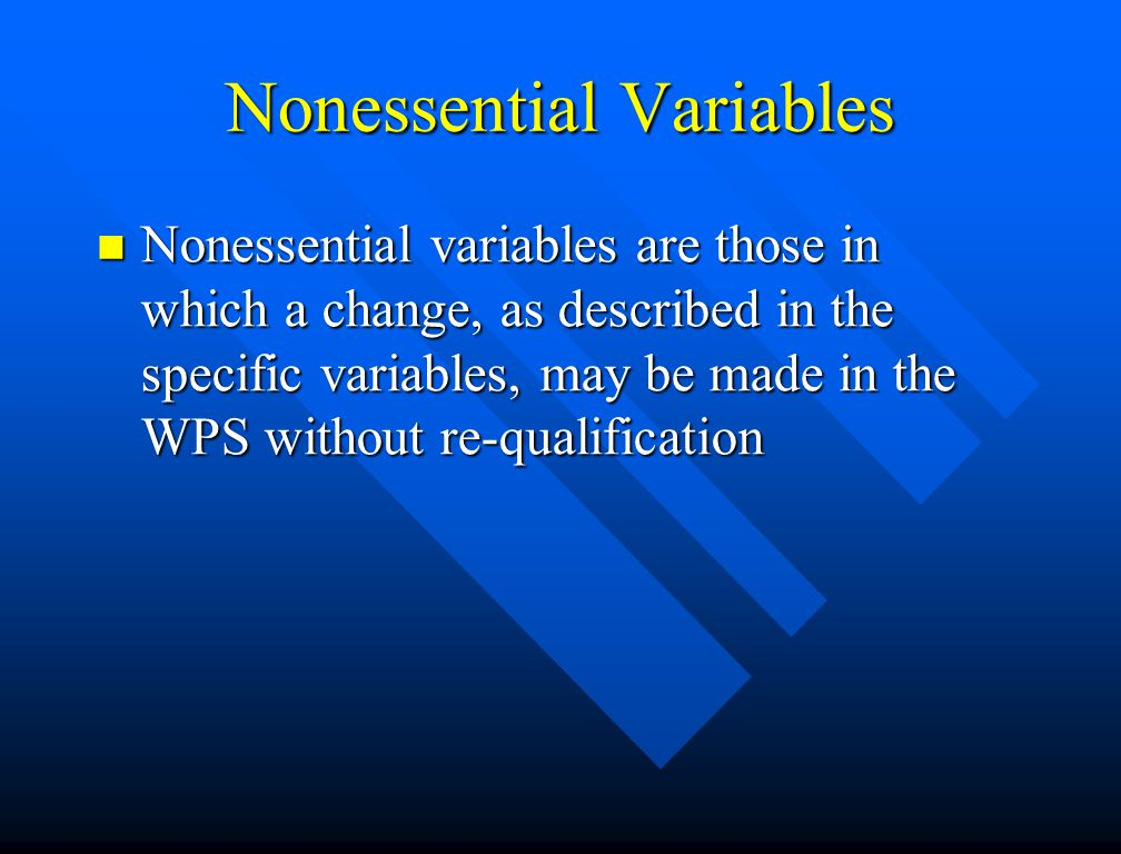 Nonessential Variables