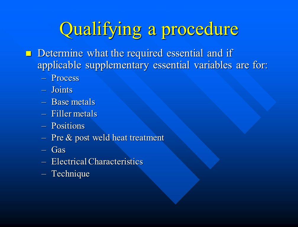 Qualifying a procedure