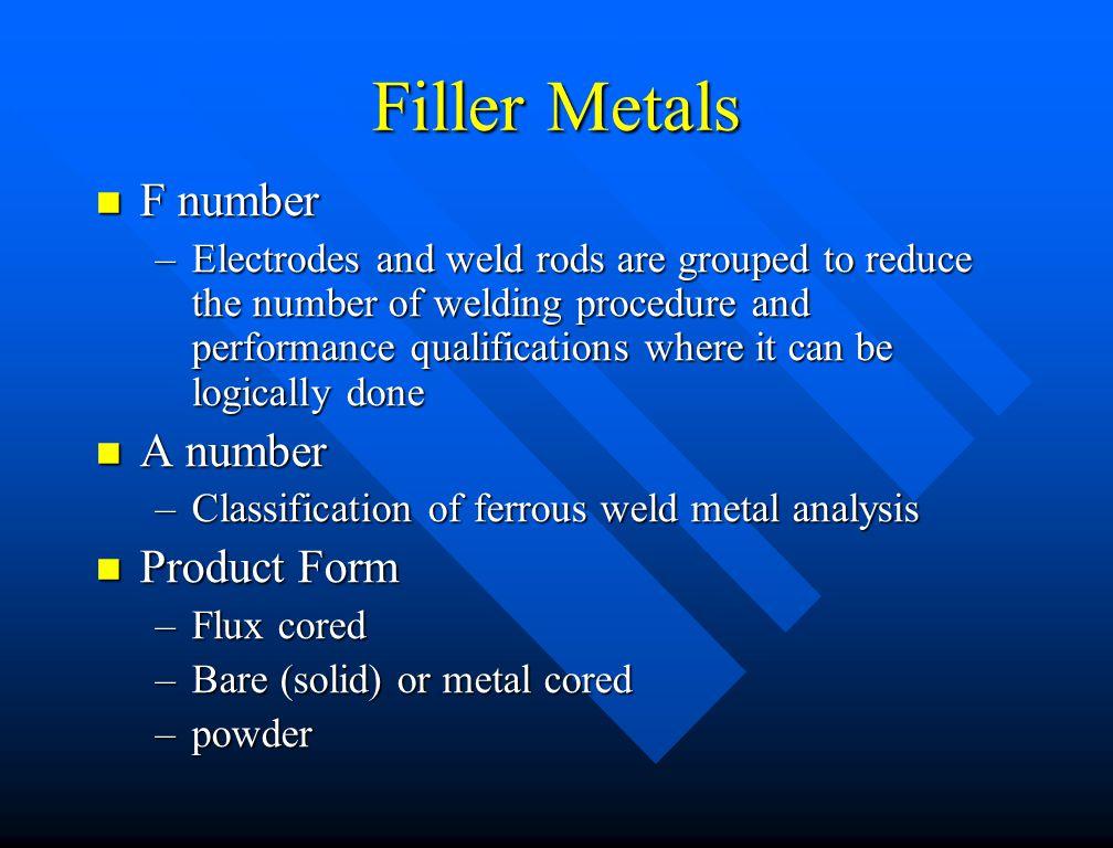Filler Metals F number A number Product Form