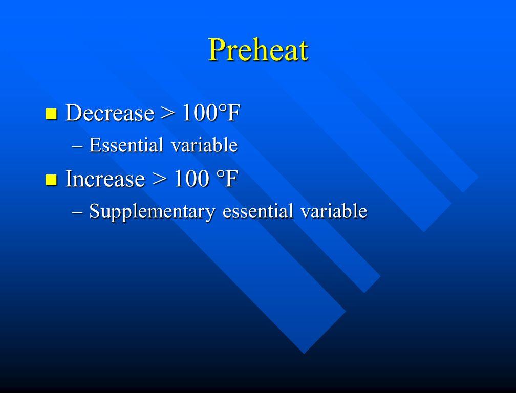 Preheat Decrease > 100°F Increase > 100 °F Essential variable