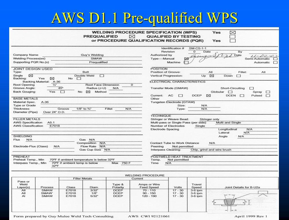 AWS D1.1 Pre-qualified WPS