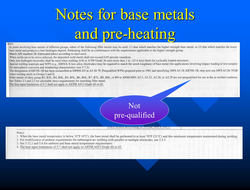 Notes for base metals and pre-heating