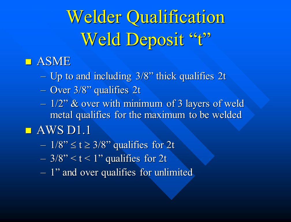 Welder Qualification Weld Deposit t