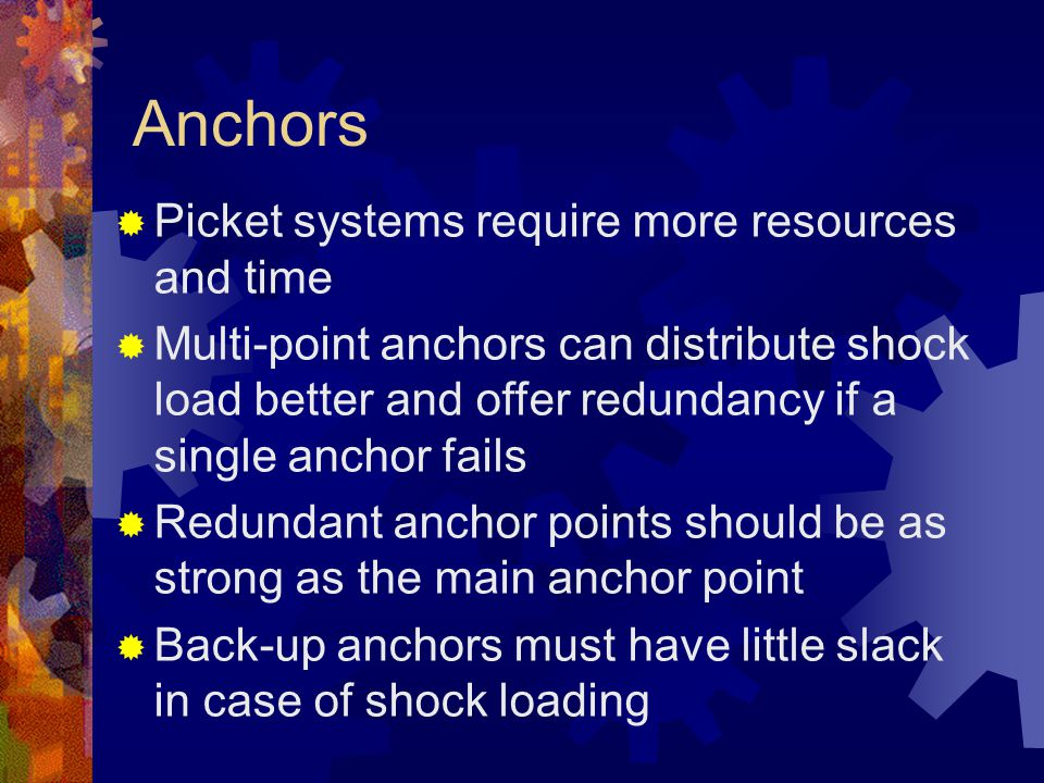 Anchors Picket systems require more resources and time