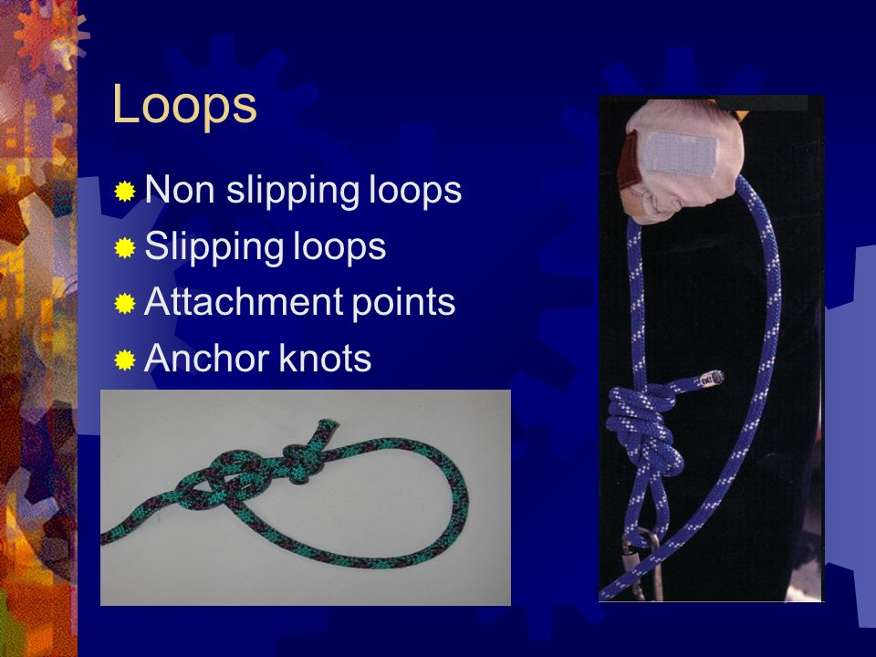 Loops Non slipping loops Slipping loops Attachment points Anchor knots