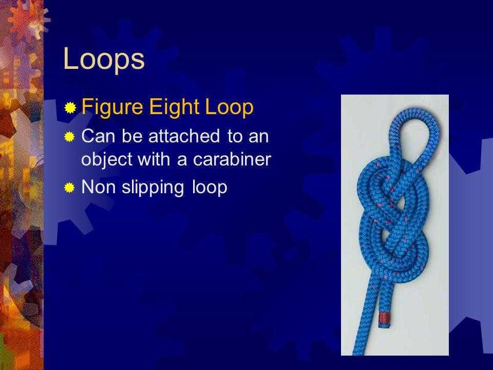 Loops Figure Eight Loop Can be attached to an object with a carabiner