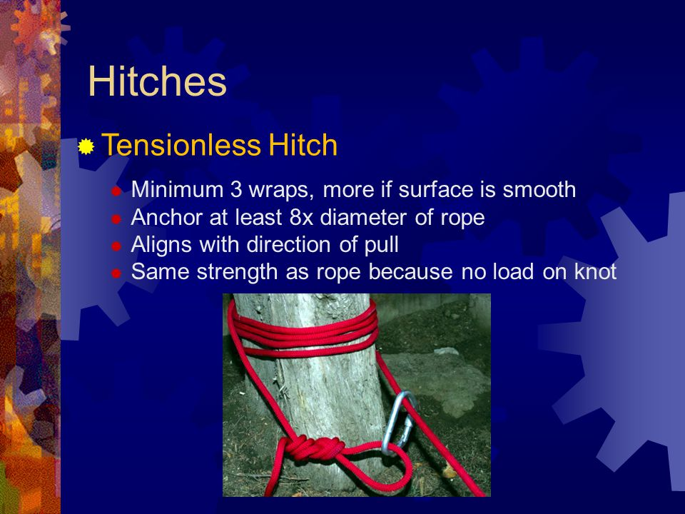 Hitches Tensionless Hitch Minimum 3 wraps, more if surface is smooth