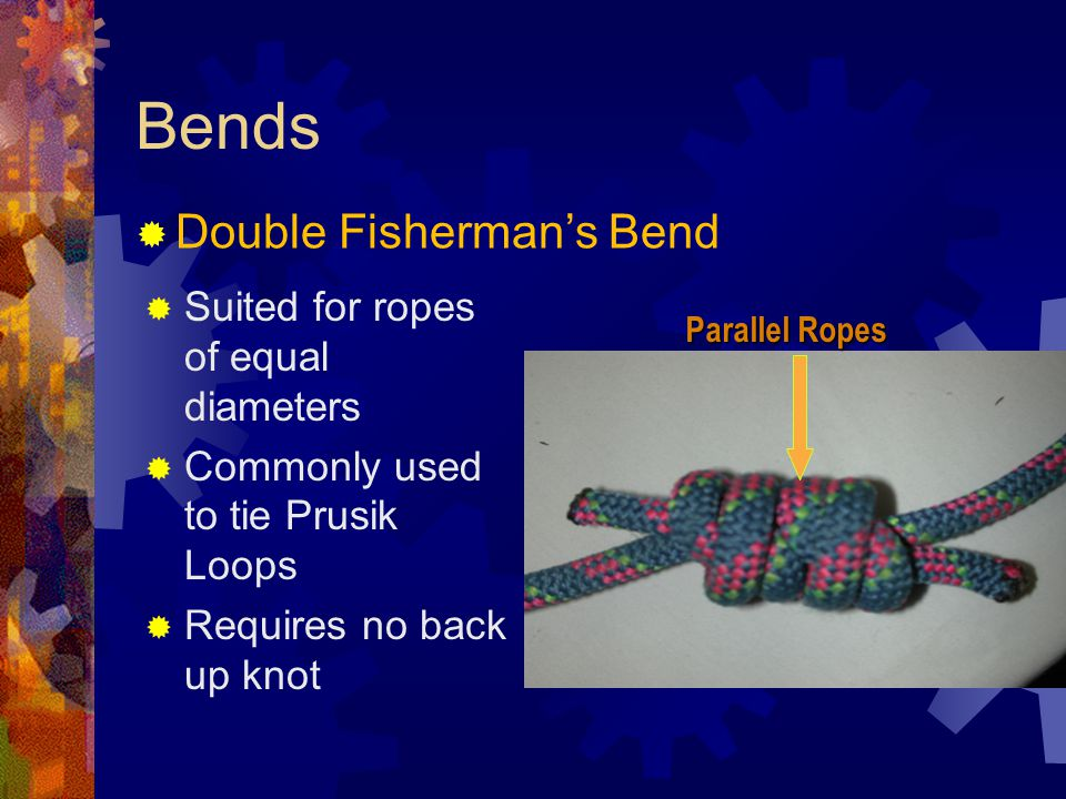 Bends Double Fisherman's Bend Suited for ropes of equal diameters