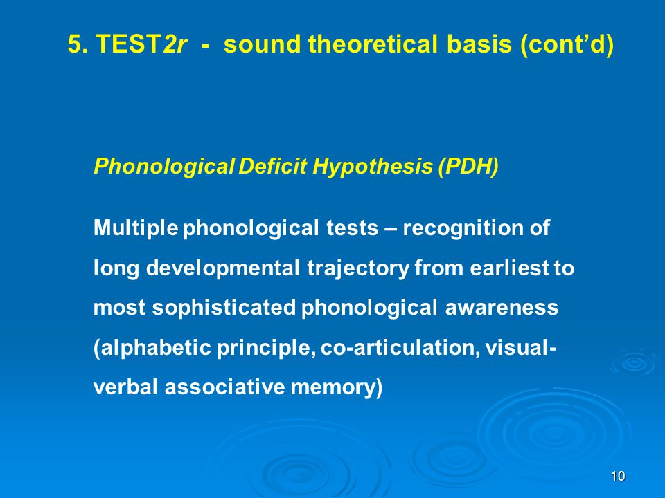 5. TEST2r - sound theoretical basis (cont'd)